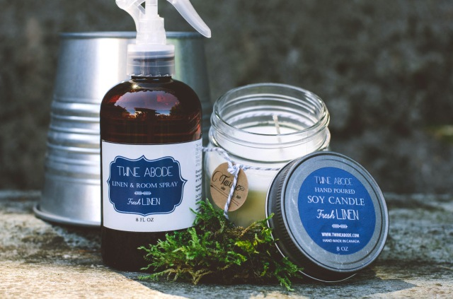 linen spray and candle - Creative wife and joyful worker and twine abode collab